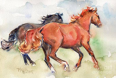 Sorrel Horse Painting - Horse Horses Running By My Side by Maria's Watercolor