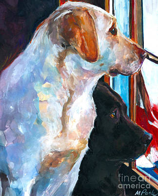 Yellow Labrador Retriever Painting - By My Side by Molly Poole