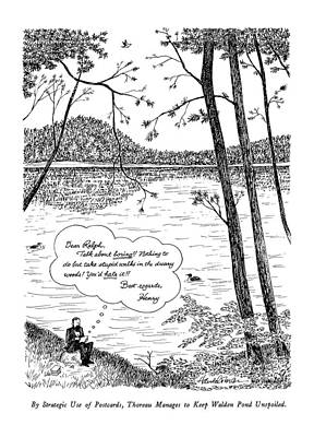 Walden Pond Drawing - By Strategic Use Of Postcards by J.B. Handelsman