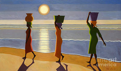 Sundown Painting - By The Beach by Tilly Willis