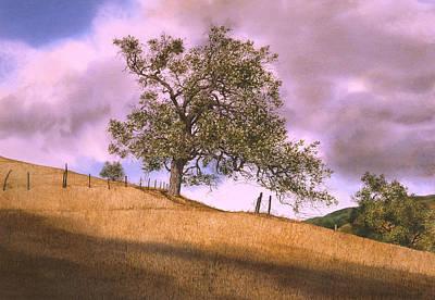 By The Big Oak Art Print by Tom Wooldridge
