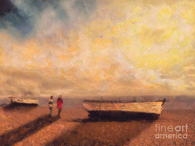 Impressionism Paintings - By the boats by Pixel Chimp