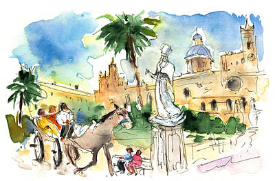 Historic Buildings Drawing - By The Cathedral In Palermo by Miki De Goodaboom