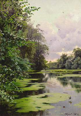 Fresh Water Painting - By The Lake II by Peder Monsted