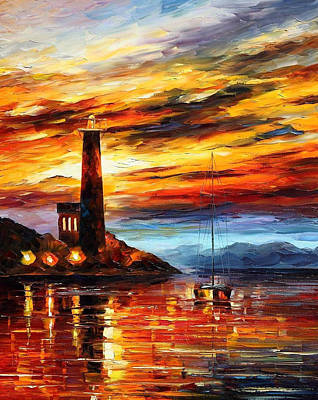 By The Lighthouse - Palette Knife Oil Painting On Canvas By Leonid Afremov Original by Leonid Afremov