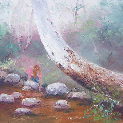 Girl In Landscape Painting - By The Old Gum Tree by Jan Matson