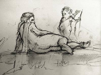 Cupid Drawing - By The River by H James Hoff