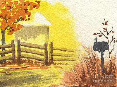 Painting - By The Roadside In Autumn by Beverly Claire Kaiya
