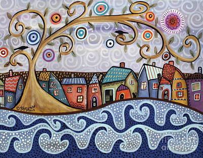 Swirl Tree Painting - By The Sea by Karla Gerard
