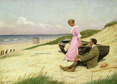 Lady On The Beach Painting - By The Sea by Povl Steffensen