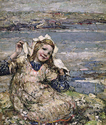 Little Girl On Beach Painting - By The Seaside by Edward Atkinson Hornel