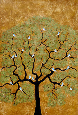 Flock Of Bird Painting - By The Tree Re-painted by Sumit Mehndiratta