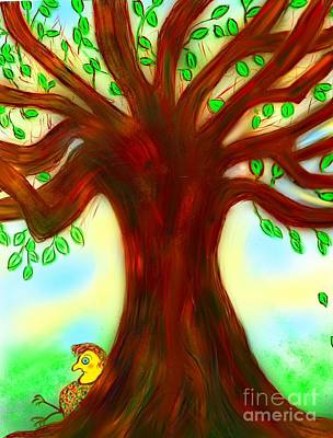By The Tree Art Print