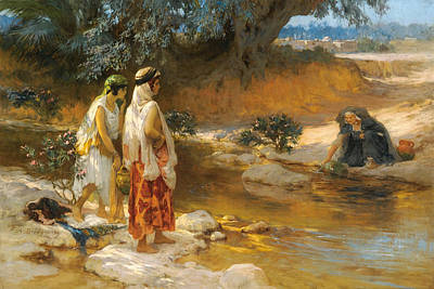Edge Painting - By The Waters Edge by Frederick Arthur Bridgman