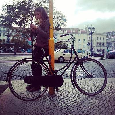 Young Girl Wall Art - Photograph - #bycicle #lisboa #rossio #lisboncenter by Mariana Cruz