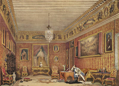 Watercolor Pet Portraits Drawing - Byrons Room In Palazzo Mocenigo, Venice by English School