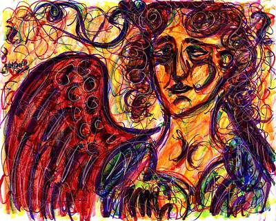 Drawing - Byzantine Angel by Rachel Scott