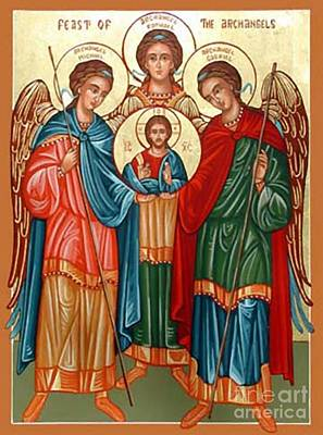Byzantine Painting - Byzantine Archangels by Archangelus Gallery