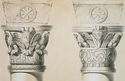 Byzantine Capitals From Columns In The Nave Of The Church Of St Demetrius In Thessalonica Art Print by Charles Felix Marie Texier