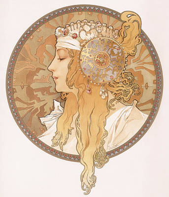 Byzantine Painting - Byzantine Head Of A Blond Maiden by Alphonse Marie Mucha