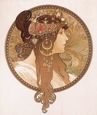 Girl Face Drawing - Byzantine Head Of A Brunette by Alphonse Marie Mucha