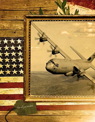 C-130 Hercules Rustic Flag Art Print by Reggie Saunders
