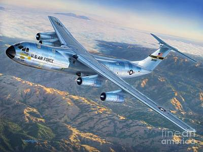 Air Force Digital Art - C-141 Starlifter The Golden Bear by Stu Shepherd