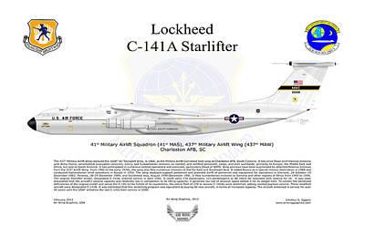C-141a Starlifter 41st Mas Art Print by Arthur Eggers