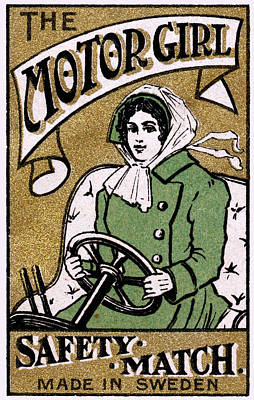 Painting - C. 1910 Motor Girl Matches by Historic Image