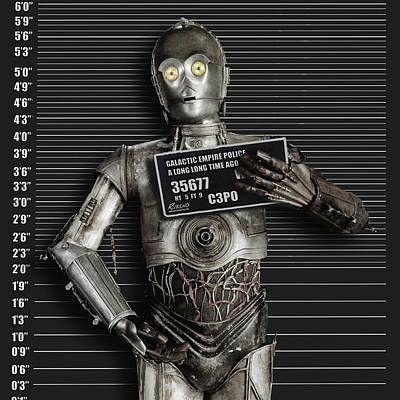 Portraits Royalty-Free and Rights-Managed Images - C-3PO Mug Shot by Tony Rubino