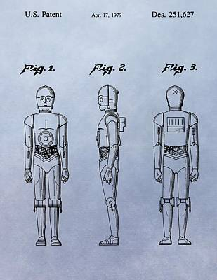 Science Fiction Drawings - C-3PO Patent by Dan Sproul