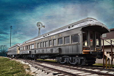 Digital Art - C E Il Rr Car Side And Front Views Textured Sky by Thomas Woolworth