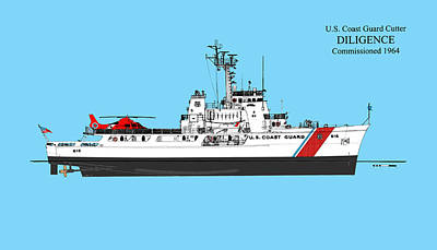 Uscg Drawing - C G C  Diligence - Color by Jerry McElroy - Public Domain Image