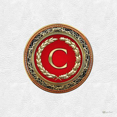 Digital Art - C - Gold Vintage Monogram On White Leather by Serge Averbukh