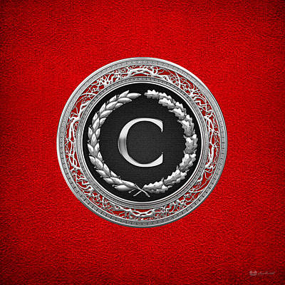 Digital Art - C - Silver Vintage Monogram On Red Leather by Serge Averbukh