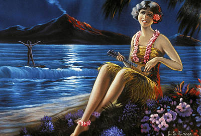 Photograph - Ukulele Girl On Beach by Hawaiian Legacy Archive