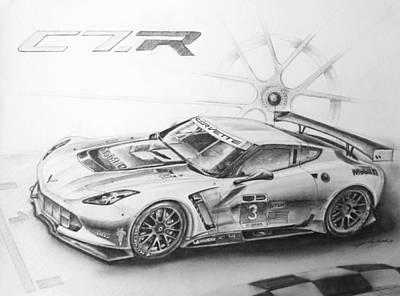 Indy Car Drawing - C7.r by Kelly Bremer
