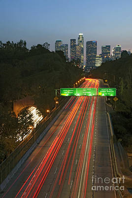 Photograph - Ca 110 Pasadena Freeway Downtown Los Angeles At Night With Car Lights Streaking_2 by David Zanzinger