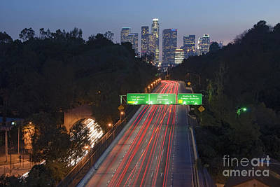 Photograph - Ca 110 Pasadena Freeway Downtown Los Angeles At Night With Car Lights Streaking_4 by David Zanzinger