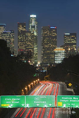 Photograph - Ca 110 Pasadena Freeway Downtown Los Angeles At Night With Car Lights Streaking_5 by David Zanzinger