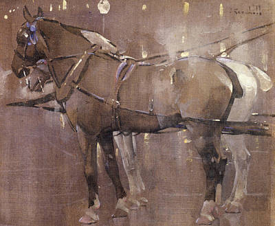 Cab Horses By Gaslight  Art Print by Joseph Crawhall