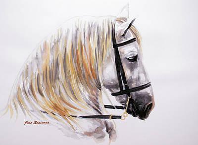 White Horse Watercolor Painting - Caballus by J- J- Espinoza