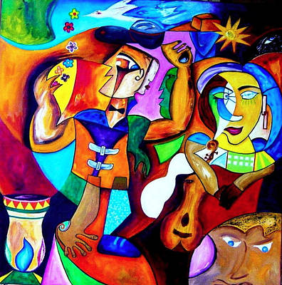 Guitare Painting - Cabaret by Jean claude Segura