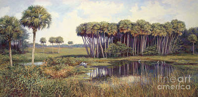 Wetlands Painting - Cabbage Palms by Laurie Hein