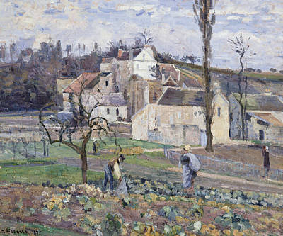 Worker Painting - Cabbage Patch Near The Village by Camille Pissarro