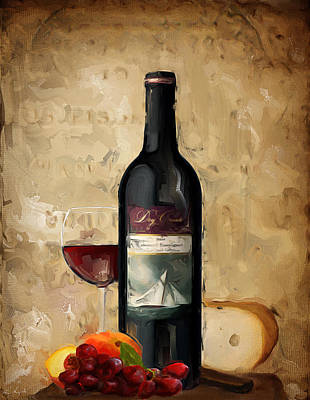 Chardonnay Wine Painting - Cabernet Iv by Lourry Legarde