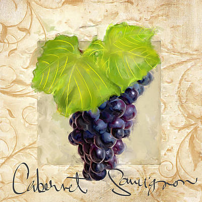 Cabernet Wine Painting - Cabernet Sauvignon by Lourry Legarde