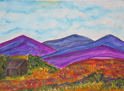 Painting - Cabin And Mountains by Kerry Bennett