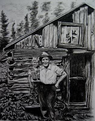 Drawing - Cabin At Little John by Joan Pye