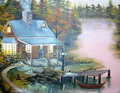 Cabin At The Lake Art Print